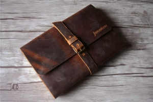 distressed leather notebook brown bound