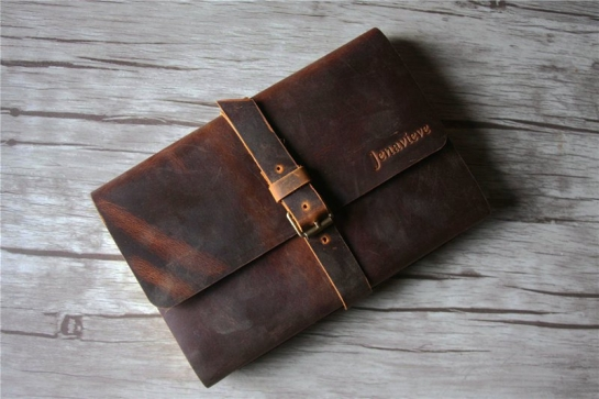 handmade brown leather notebook buckle closure