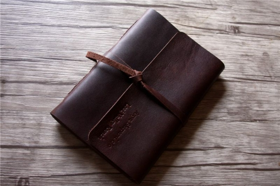 handmade italian leather bound notebook