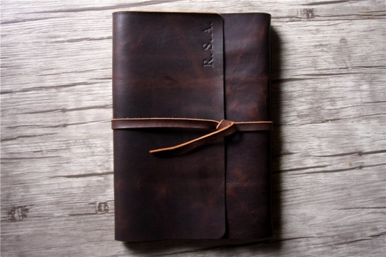 distressed large leather bound journal