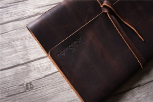 handmade large brown leather notebook