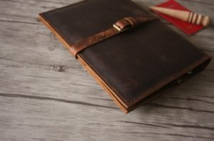 dark brown business leather padfolio