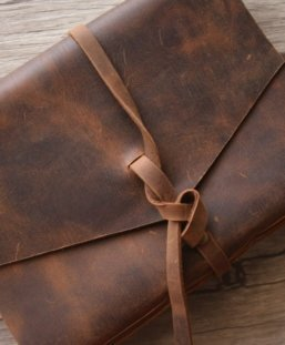 distressed brown leather journal
