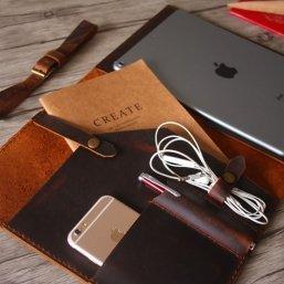 distressed leather portfolio bag
