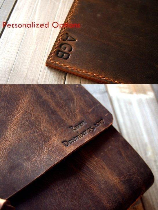 initials leather portfolio