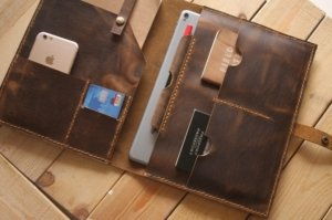 handmade leather portfolio travel and work