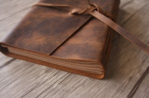 leather journal diary paper