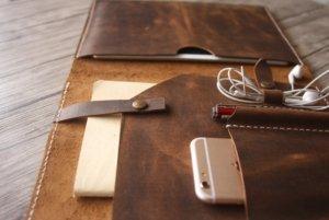 leather portfolio personalized initials