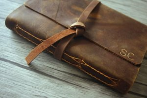 monogram leather journals