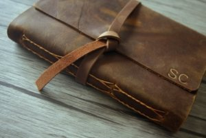 monogram leather journals