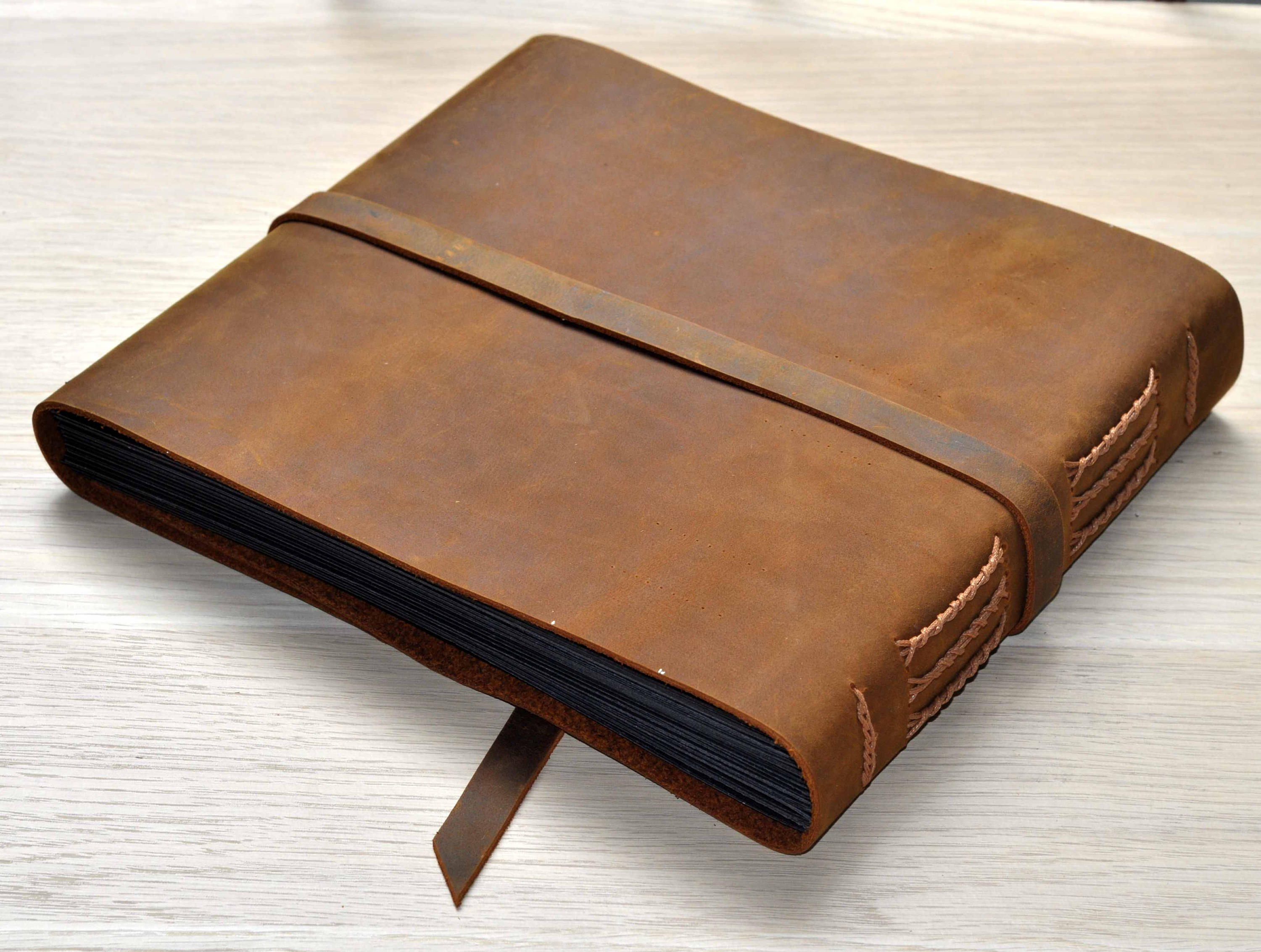 buffalo picture album distressed leather book flixgifts. Black Bedroom Furniture Sets. Home Design Ideas