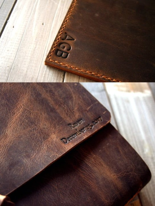 personalized emboss on leather