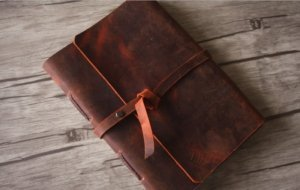 red genuine leather journal