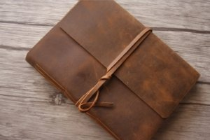 rustic mens leather journal