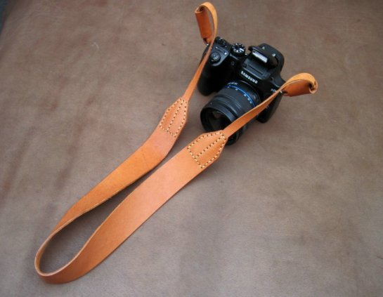 small leather camera strap
