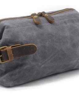 grey canvas toiletry travel bag