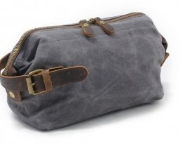 grey canvas toiletry travel bag