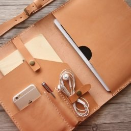 Veg Tan junior leather padfolio