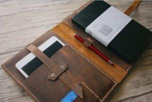custom leather portfolios logo imprint
