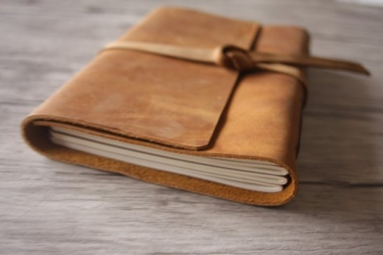distressed embossed leather journal