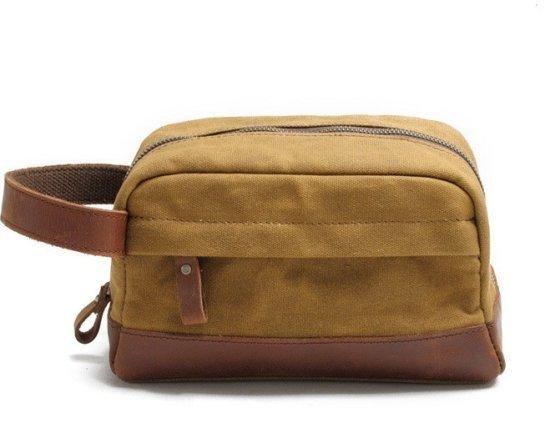 khaki dopp kit leather bag