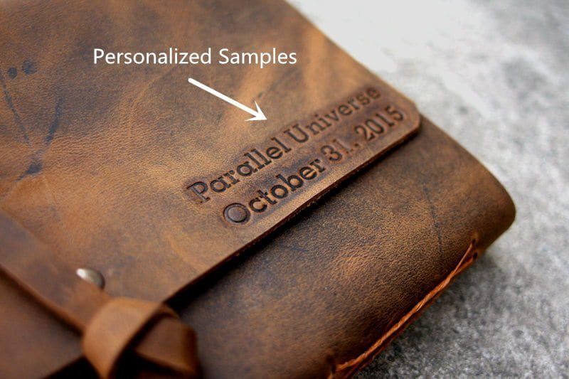 emboss on leather album journals
