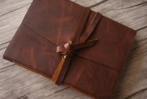 embossed leather thick journal