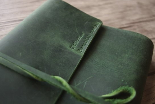 green leather journals tie lock