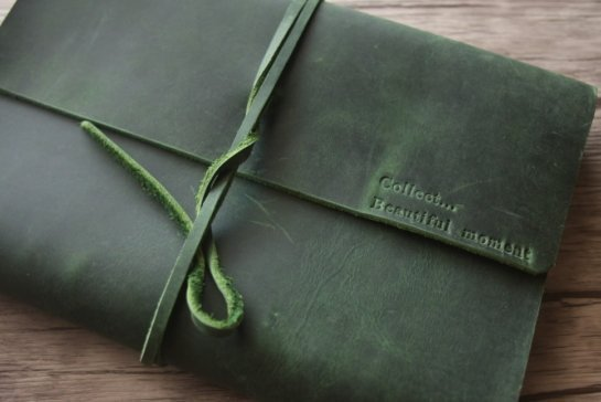 green personalized leather journal