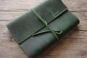 green journal leather cover