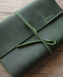 journal leather cover green