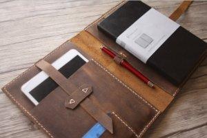 leather portfolios logo imprint