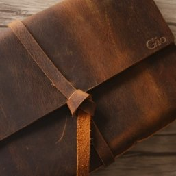monogram leather diary journal