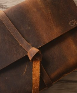 monogram leather diary journal