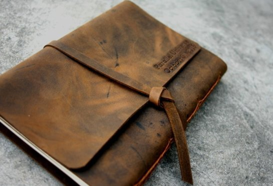 monogrammed refillable leather journal