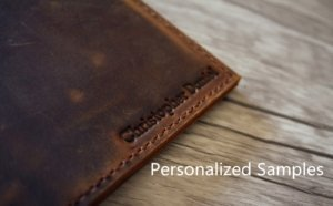 personalized leather portfolio samples