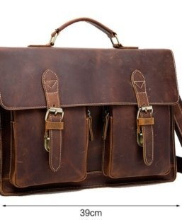 vintage leather briefcase document