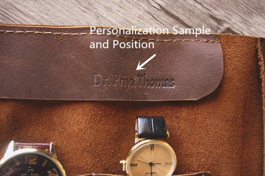 personalized emboss on leather watch case