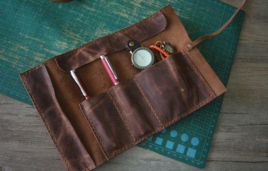 brown leather single watch case