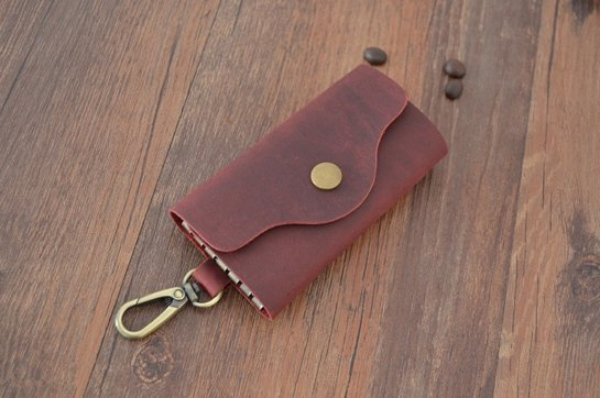 burgundy leather keychain corporate gifts