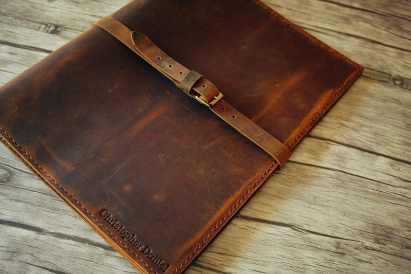 distressed leather portfolio with names