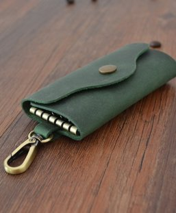 green leather key chain gifts