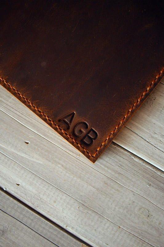 initials on portfolio