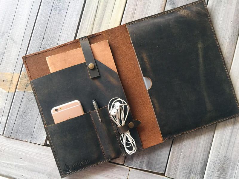 logo imprint leather portfolio