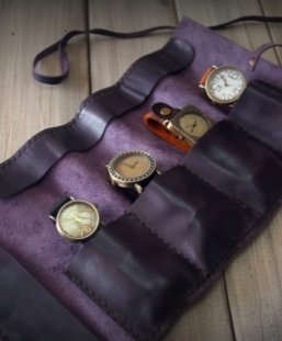 purple leather luxury watch case