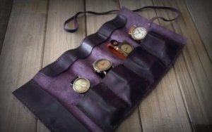 purple leather luxury watch case