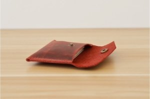red leather credit card case