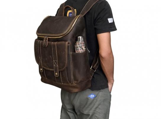 black leather backpack mens