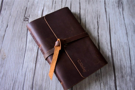 brown large leather womens custom leather journal