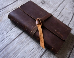 brown leather travel journal for men